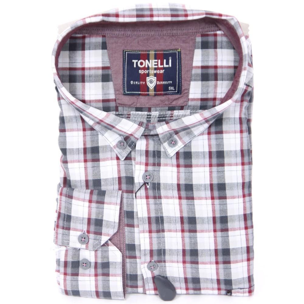e5a06a908afd Košeľa TONELLI dlhý rukáv - šedobílé káro - Košeľa TONELLI dlhý ...