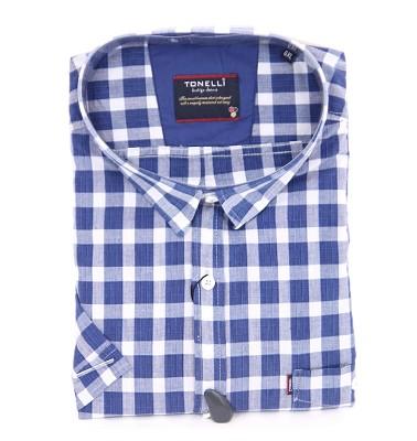 Košeľa TONELLI krátky rukáv - modrá kostka